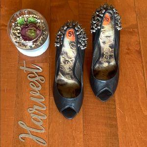 Sam Edelman black leather diamonds and studs heels